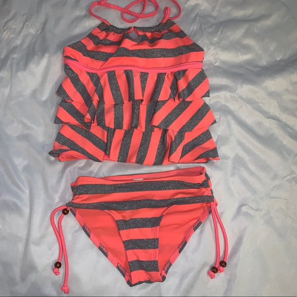 Justice Other - Justice ruffled glittery girls tankini size 6